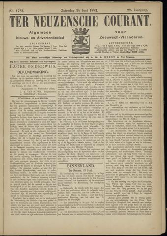 Ter Neuzensche Courant. Algemeen Nieuws- en Advertentieblad voor Zeeuwsch-Vlaanderen / Neuzensche Courant ... (idem) / (Algemeen) nieuws en advertentieblad voor Zeeuwsch-Vlaanderen 1882-06-24