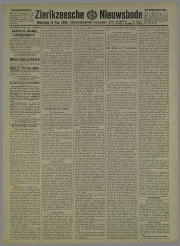 Zierikzeesche Nieuwsbode 1923-11-19