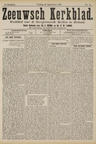 Zeeuwsche kerkbode, weekblad gewijd aan de belangen der gereformeerde kerken/ Zeeuwsch kerkblad 1909-09-24