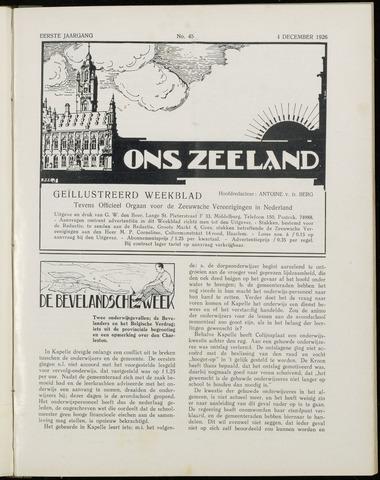 Ons Zeeland / Zeeuwsche editie 1926-12-04