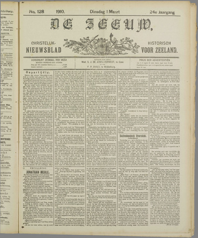 De Zeeuw. Christelijk-historisch nieuwsblad voor Zeeland 1910-03-01