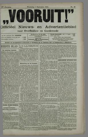 """""""Vooruit!""""Officieel Nieuws- en Advertentieblad voor Overflakkee en Goedereede 1915-09-01"""