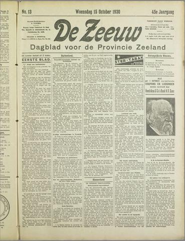 De Zeeuw. Christelijk-historisch nieuwsblad voor Zeeland 1930-10-15