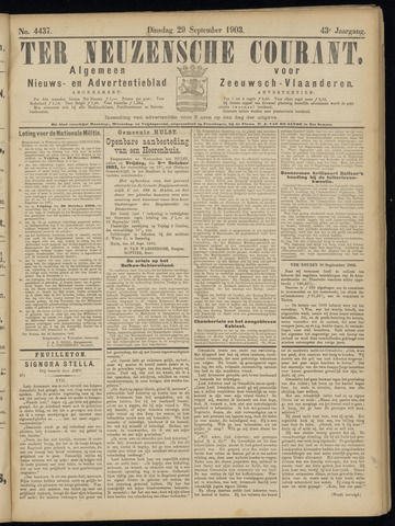 Ter Neuzensche Courant. Algemeen Nieuws- en Advertentieblad voor Zeeuwsch-Vlaanderen / Neuzensche Courant ... (idem) / (Algemeen) nieuws en advertentieblad voor Zeeuwsch-Vlaanderen 1903-09-29
