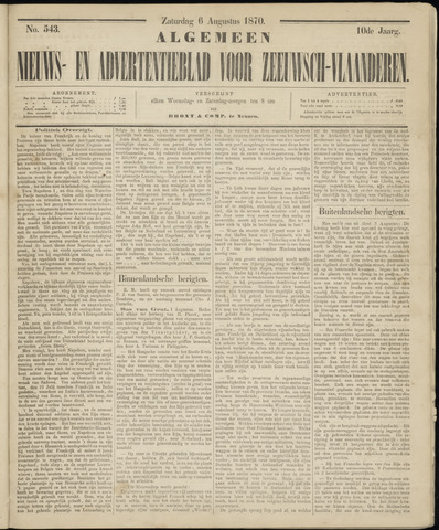 Ter Neuzensche Courant. Algemeen Nieuws- en Advertentieblad voor Zeeuwsch-Vlaanderen / Neuzensche Courant ... (idem) / (Algemeen) nieuws en advertentieblad voor Zeeuwsch-Vlaanderen 1870-08-06