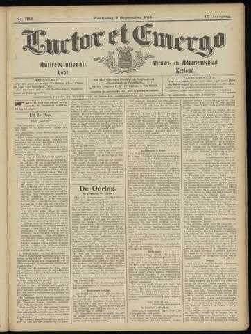 Luctor et Emergo. Antirevolutionair nieuws- en advertentieblad voor Zeeland / Zeeuwsch-Vlaanderen. Orgaan ter verspreiding van de christelijke beginselen in Zeeuwsch-Vlaanderen 1914-09-09