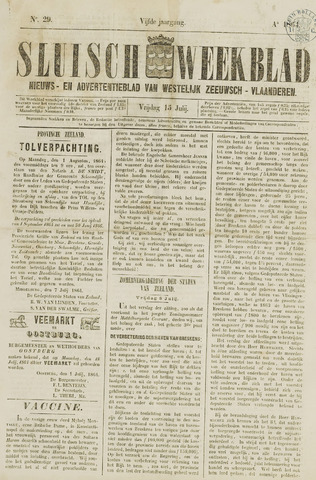 Sluisch Weekblad. Nieuws- en advertentieblad voor Westelijk Zeeuwsch-Vlaanderen 1864-07-15