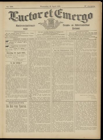 Luctor et Emergo. Antirevolutionair nieuws- en advertentieblad voor Zeeland / Zeeuwsch-Vlaanderen. Orgaan ter verspreiding van de christelijke beginselen in Zeeuwsch-Vlaanderen 1915-04-21