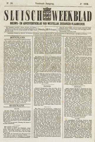 Sluisch Weekblad. Nieuws- en advertentieblad voor Westelijk Zeeuwsch-Vlaanderen 1873-02-25