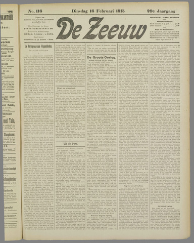 De Zeeuw. Christelijk-historisch nieuwsblad voor Zeeland 1915-02-16