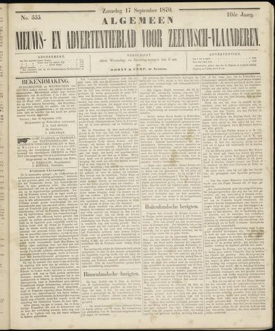 Ter Neuzensche Courant. Algemeen Nieuws- en Advertentieblad voor Zeeuwsch-Vlaanderen / Neuzensche Courant ... (idem) / (Algemeen) nieuws en advertentieblad voor Zeeuwsch-Vlaanderen 1870-09-17