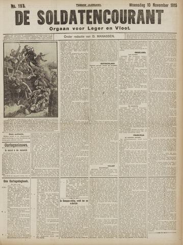 De Soldatencourant. Orgaan voor Leger en Vloot 1915-11-10