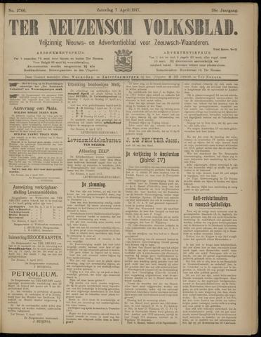 Ter Neuzensch Volksblad. Vrijzinnig nieuws- en advertentieblad voor Zeeuwsch- Vlaanderen / Zeeuwsch Nieuwsblad. Nieuws- en advertentieblad voor Zeeland 1917-04-07