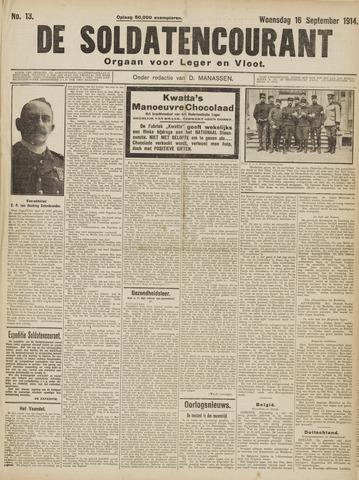 De Soldatencourant. Orgaan voor Leger en Vloot 1914-09-16