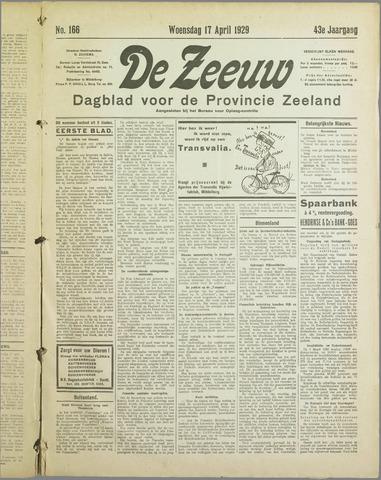 De Zeeuw. Christelijk-historisch nieuwsblad voor Zeeland 1929-04-17