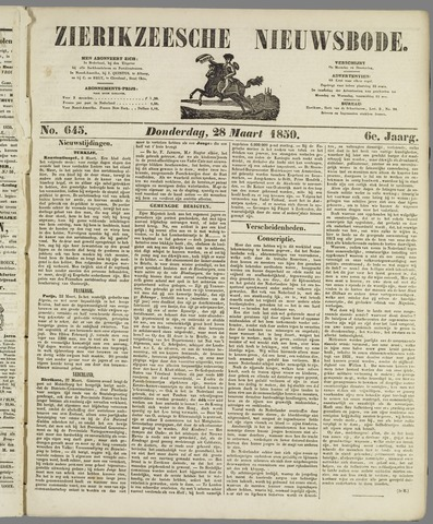Zierikzeesche Nieuwsbode 1850-03-28