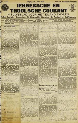 Ierseksche en Thoolsche Courant 1931-06-26