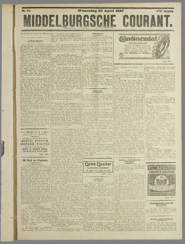 Middelburgsche Courant 1927-04-20