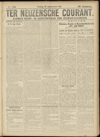 Ter Neuzensche Courant. Algemeen Nieuws- en Advertentieblad voor Zeeuwsch-Vlaanderen / Neuzensche Courant ... (idem) / (Algemeen) nieuws en advertentieblad voor Zeeuwsch-Vlaanderen 1921-09-30