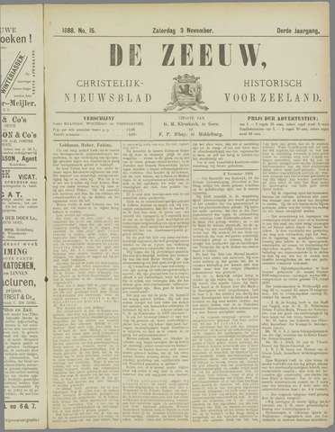 De Zeeuw. Christelijk-historisch nieuwsblad voor Zeeland 1888-11-03