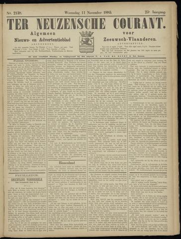 Ter Neuzensche Courant. Algemeen Nieuws- en Advertentieblad voor Zeeuwsch-Vlaanderen / Neuzensche Courant ... (idem) / (Algemeen) nieuws en advertentieblad voor Zeeuwsch-Vlaanderen 1885-11-11