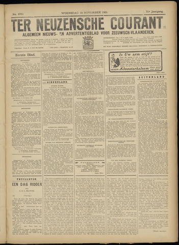 Ter Neuzensche Courant. Algemeen Nieuws- en Advertentieblad voor Zeeuwsch-Vlaanderen / Neuzensche Courant ... (idem) / (Algemeen) nieuws en advertentieblad voor Zeeuwsch-Vlaanderen 1931-11-18