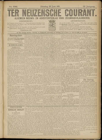 Ter Neuzensche Courant. Algemeen Nieuws- en Advertentieblad voor Zeeuwsch-Vlaanderen / Neuzensche Courant ... (idem) / (Algemeen) nieuws en advertentieblad voor Zeeuwsch-Vlaanderen 1916-06-20