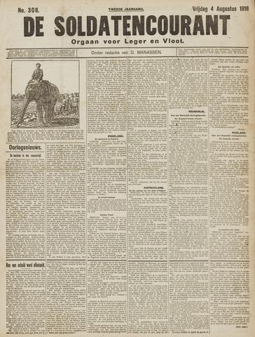 De Soldatencourant. Orgaan voor Leger en Vloot 1916-08-04