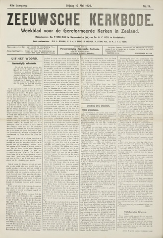 Zeeuwsche kerkbode, weekblad gewijd aan de belangen der gereformeerde kerken/ Zeeuwsch kerkblad 1929-05-10