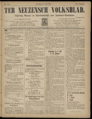 Ter Neuzensch Volksblad. Vrijzinnig nieuws- en advertentieblad voor Zeeuwsch- Vlaanderen / Zeeuwsch Nieuwsblad. Nieuws- en advertentieblad voor Zeeland 1917-06-30