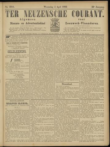 Ter Neuzensche Courant. Algemeen Nieuws- en Advertentieblad voor Zeeuwsch-Vlaanderen / Neuzensche Courant ... (idem) / (Algemeen) nieuws en advertentieblad voor Zeeuwsch-Vlaanderen 1893-04-05