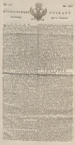 Middelburgsche Courant 1771-11-21
