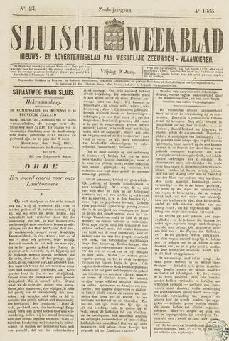 Sluisch Weekblad. Nieuws- en advertentieblad voor Westelijk Zeeuwsch-Vlaanderen 1865-06-09