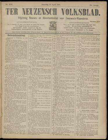 Ter Neuzensch Volksblad. Vrijzinnig nieuws- en advertentieblad voor Zeeuwsch- Vlaanderen / Zeeuwsch Nieuwsblad. Nieuws- en advertentieblad voor Zeeland 1917-04-14