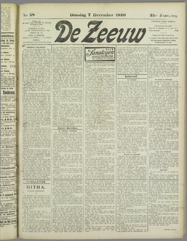 De Zeeuw. Christelijk-historisch nieuwsblad voor Zeeland 1920-12-07