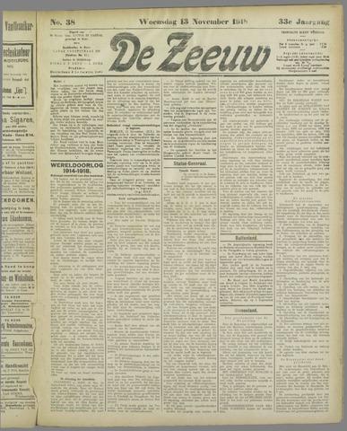 De Zeeuw. Christelijk-historisch nieuwsblad voor Zeeland 1918-11-13