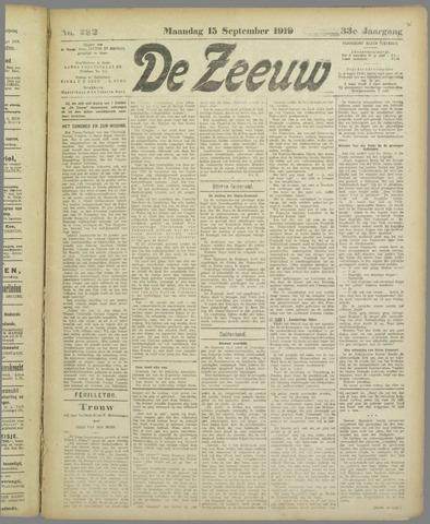 De Zeeuw. Christelijk-historisch nieuwsblad voor Zeeland 1919-09-15