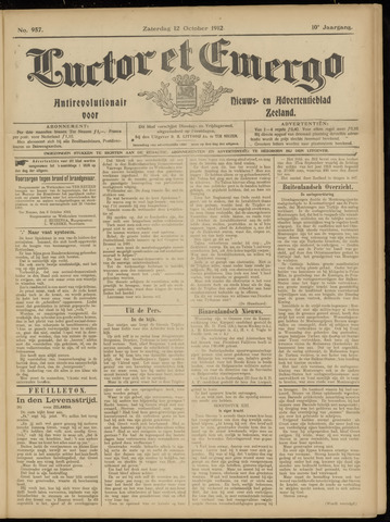 Luctor et Emergo. Antirevolutionair nieuws- en advertentieblad voor Zeeland / Zeeuwsch-Vlaanderen. Orgaan ter verspreiding van de christelijke beginselen in Zeeuwsch-Vlaanderen 1912-10-12