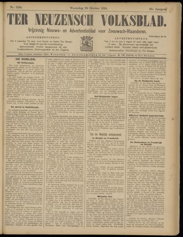 Ter Neuzensch Volksblad. Vrijzinnig nieuws- en advertentieblad voor Zeeuwsch- Vlaanderen / Zeeuwsch Nieuwsblad. Nieuws- en advertentieblad voor Zeeland 1914-10-28