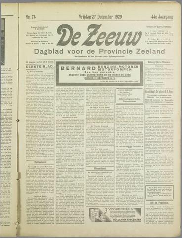 De Zeeuw. Christelijk-historisch nieuwsblad voor Zeeland 1929-12-27