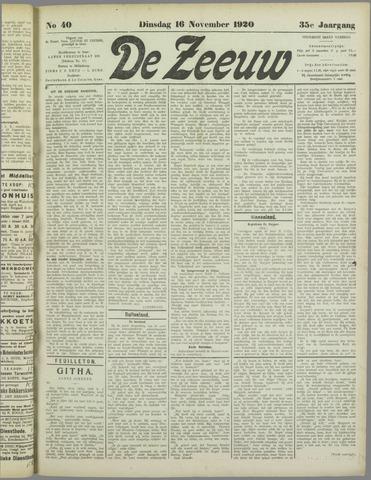 De Zeeuw. Christelijk-historisch nieuwsblad voor Zeeland 1920-11-16