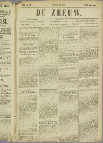 De Zeeuw. Christelijk-historisch nieuwsblad voor Zeeland 1891-06-20