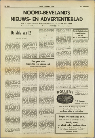 Noord-Bevelands Nieuws- en advertentieblad 1954