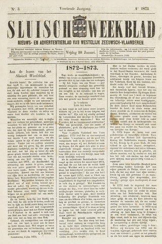 Sluisch Weekblad. Nieuws- en advertentieblad voor Westelijk Zeeuwsch-Vlaanderen 1873-01-10