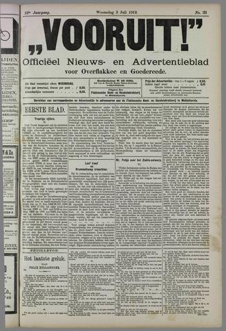 """""""Vooruit!""""Officieel Nieuws- en Advertentieblad voor Overflakkee en Goedereede 1912-07-03"""