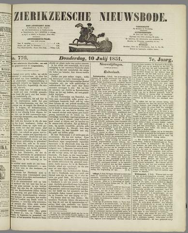Zierikzeesche Nieuwsbode 1851-07-10