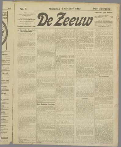 De Zeeuw. Christelijk-historisch nieuwsblad voor Zeeland 1915-10-04