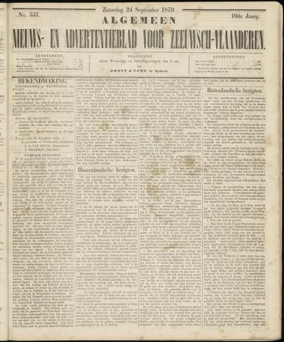 Ter Neuzensche Courant. Algemeen Nieuws- en Advertentieblad voor Zeeuwsch-Vlaanderen / Neuzensche Courant ... (idem) / (Algemeen) nieuws en advertentieblad voor Zeeuwsch-Vlaanderen 1870-09-24