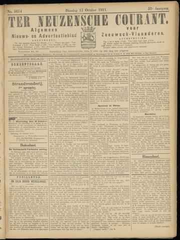 Ter Neuzensche Courant. Algemeen Nieuws- en Advertentieblad voor Zeeuwsch-Vlaanderen / Neuzensche Courant ... (idem) / (Algemeen) nieuws en advertentieblad voor Zeeuwsch-Vlaanderen 1911-10-17