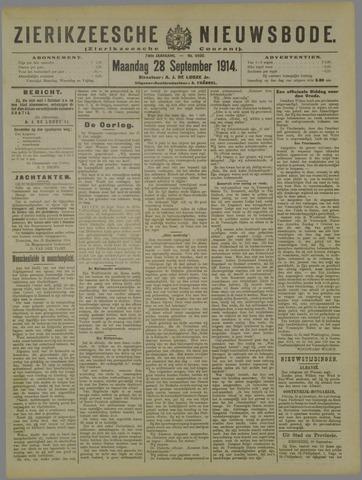 Zierikzeesche Nieuwsbode 1914-09-28